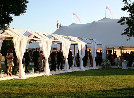 The 20x20 tent can accommodate 65 guests