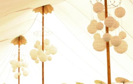 Paper lantern chandeliers
