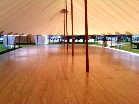 hardwood floor under tent