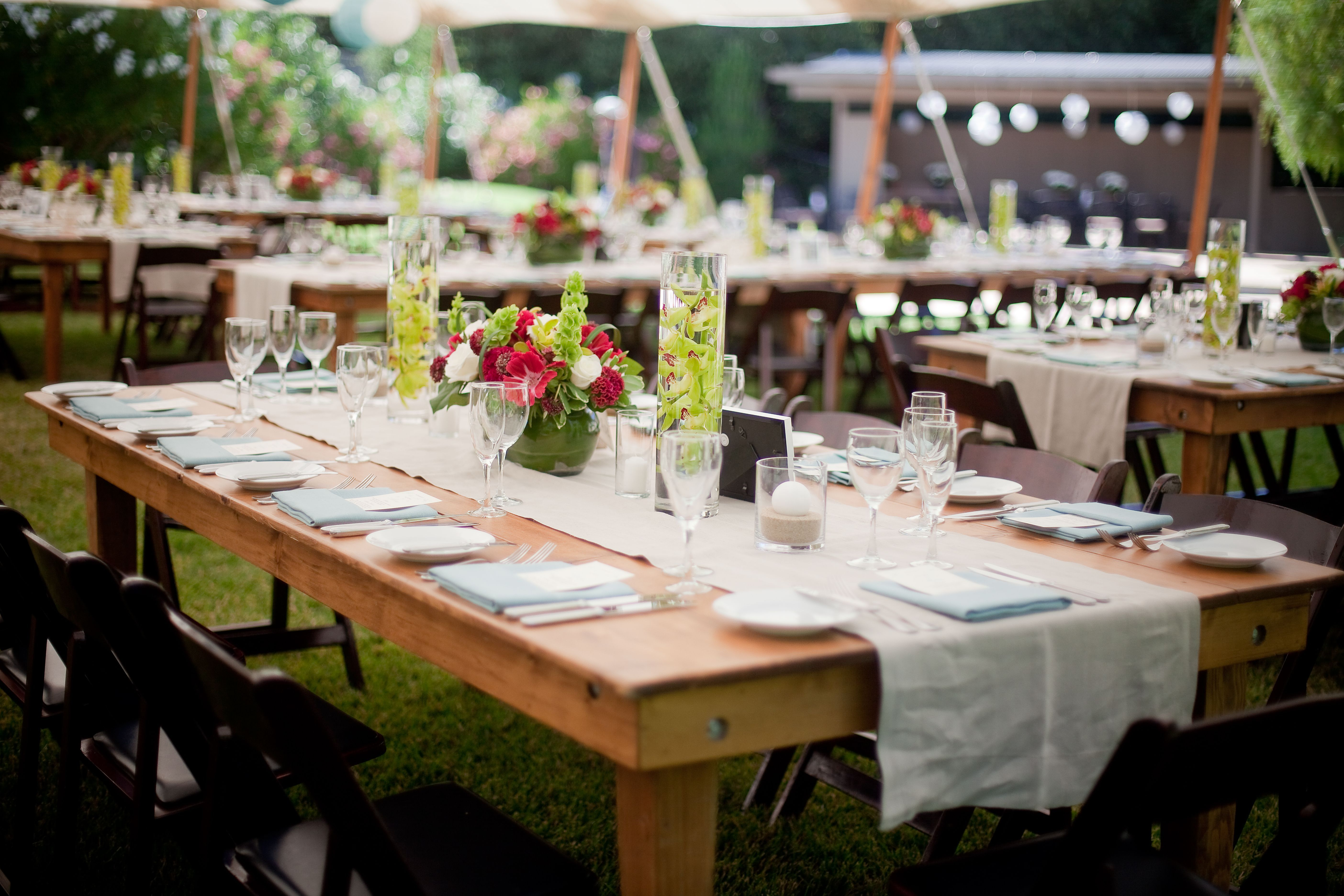 Our Hand Crafted Wood Farm Tables Are Made In House And Measure 8u0027x46u2033  Seating Up To 12 Guests. Designed To Be Used Bare Or With A Runner, These  Tables Are ...